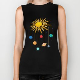 Cute Hanging Planets On Sun Stars Outer Space Galaxy Biker Tank