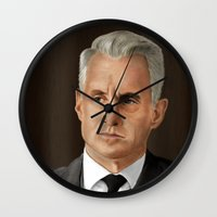 mad men Wall Clocks featuring Roger Sterling (Mad Men) by San Fernandez