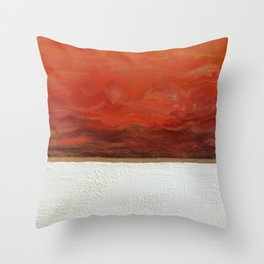 Northern Lights (red) Original Encaustic Painting Throw Pillow