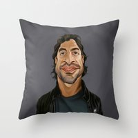 celebrity Throw Pillows featuring Celebrity Sunday ~ Javier Bardem by rob art | illustration