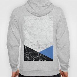 White Marble - Black Granite & Blue #509 Hoody