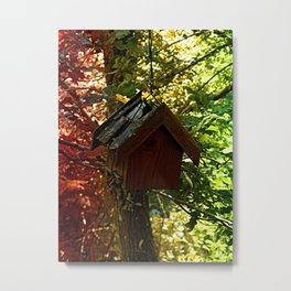 Abandoned old bird box in the forest Metal Print