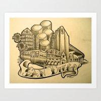 "san diego Art Prints featuring ""San Diego"" by Vic Martin"