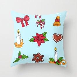 Christmas pattern (#2 blue) Throw Pillow