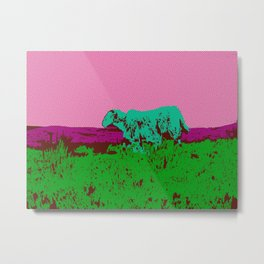 Wild Irish sheep on a mountain - modern pop art photography print Metal Print