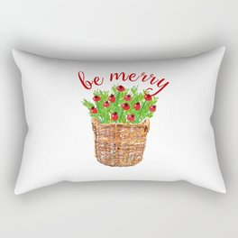 Be Merry Red Berries in Christmas Basket Rectangular Pillow