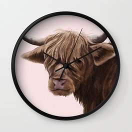 highland cattle portrait Wall Clock