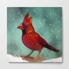 Cardinal snow Metal Print