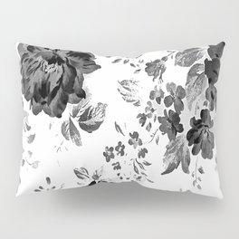 ROSES BLACK AND WHITE AND GRAY VINTAGE Pillow Sham