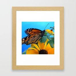 Monarch Butterfly on Black-Eyed Susan Framed Art Print