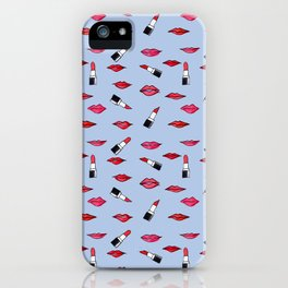Lips and lispticks pattern in clear background iPhone Case