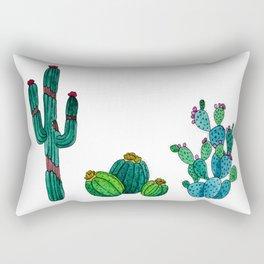 Gouache Watercolor cactus white background Rectangular Pillow