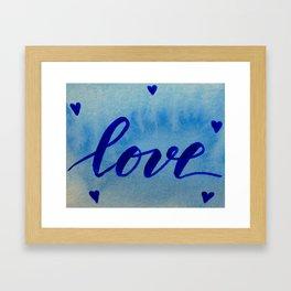 Valentine's Day Watercolor Love - blue Framed Art Print