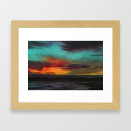 Tie Dye Sunset Lake (Color) Framed Art Print