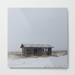 Hopeless, Abandoned, and Alone Under Grey Snow Filled Sky Metal Print