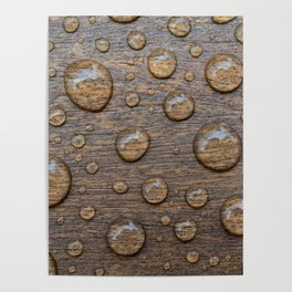 Water Drops on Wood 5 Poster
