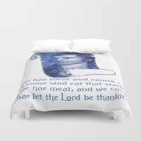 poem Duvet Covers featuring The Selkirk Grace Burns Night Supper Poem by taiche