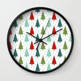 Christmas Tree holiday dots snow polka dot minimal modern geometric christmas decor design Wall Clock