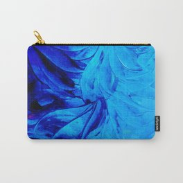 PETAL PINWHEELS - Deep Indigo Blue Royal Blue Turquoise Floral Pattern Swirls Ocean Water Flowers Carry-All Pouch