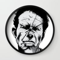 tom waits Wall Clocks featuring mr. waits by Darby Krow