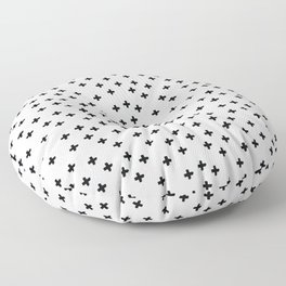 Black hand drawn pluses pattern on white Floor Pillow