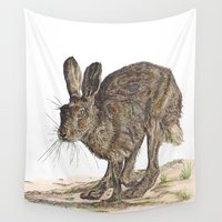 hare Wall Tapestries featuring Hare II by Meredith Mackworth-Praed