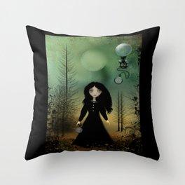 Time Flies Dark Goth Girl Steampunk Art Throw Pillow
