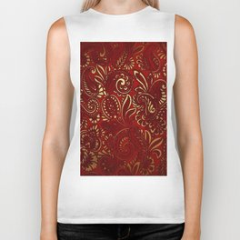 Red Burgundy Deep Gold Paisley Floral Pattern Print Biker Tank
