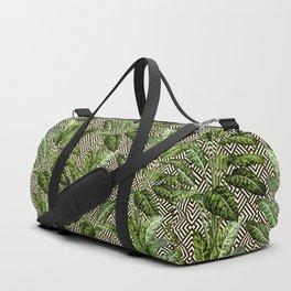 Palms on Square Shingles Pattern - Black White Gold Duffle Bag