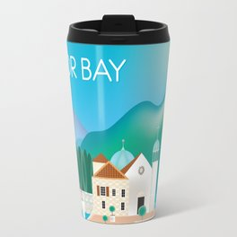 Kotor Bay, Montenegro - Skyline Illustration by Loose Petals Travel Mug
