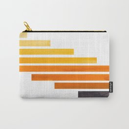 Orange Yellow Ocre Midcentury Modern Minimalist Staggered Stripes Rectangle Geometric Pattern Waterc Carry-All Pouch