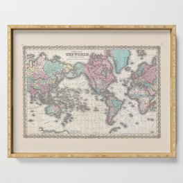 1855 Colton Map of the World on Mercator Projection Serving Tray