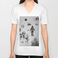 hunting V-neck T-shirts featuring Interstellar hunting by monicamarcov
