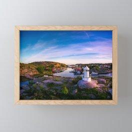 Sunset over old fishing port - Aerial Photography Framed Mini Art Print