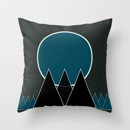 mountains in black Throw Pillow