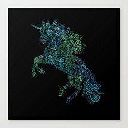 Green and Blue Unicorn Filix Canvas Print