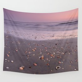 The Beach Of The Shells. Purple sunset Wall Tapestry