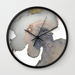 Gold and black abstract alcohol inks painting Wall Clock