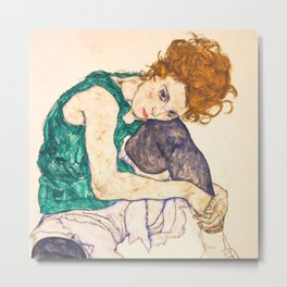 "Egon Schiele ""Seated Woman with Legs Drawn Up"" Metal Print"