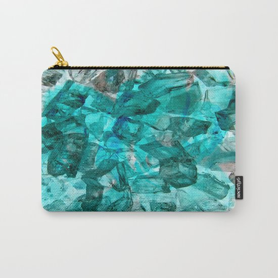 Turquoise Glass Chrystal Abstract Carry-All Pouch