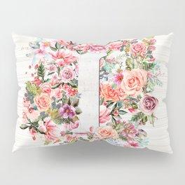 Initial Letter I Watercolor Flower Pillow Sham