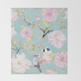 Pastel Teal Vintage Roses and Hummingbird Pattern Throw Blanket