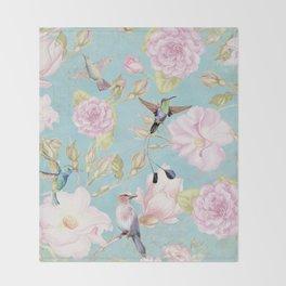 Pastel Teal Vintage Roses and Hummingbird Pattern Throw Blanket