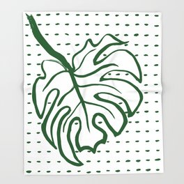 Monstera Leaf Throw Blanket