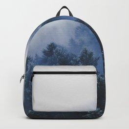 Foggy Blue Purple Mountain hill Pine Trees Landscape Nature Photography Minimalist Modern Art Backpack