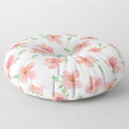 watercolor pink flowers Floor Pillow