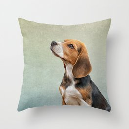 Drawing puppy Beagle Throw Pillow