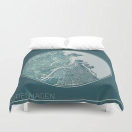 Copenhagen Map Planet Duvet Cover