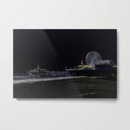 Black Neon Santa Monica Pier Metal Print