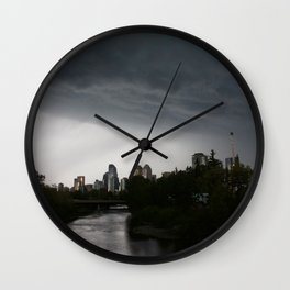 Storm clouds over Calgary and the Stampede grounds Wall Clock